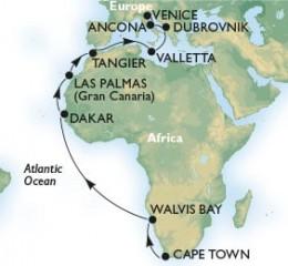22 Noches por Sudáfrica, Namibia, Senegal, España, Marruecos, Malta, Croacia, Italia a bordo del MSC Sinfonia