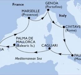 7 Noches por Francia, Italia, España a bordo del MSC Splendida
