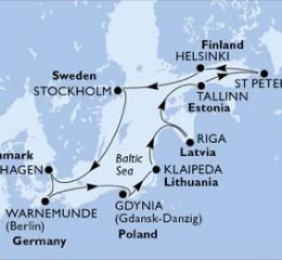 11 Noches por Alemania, Polonia, Lituania, Letonia, Estonia, Rusia, Finlandia, Suecia, Dinamarca a bordo del MSC Magnifica