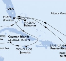 14 Noches por Estados Unidos, Jamaica, Gran Caimán, México, Bahamas, Puerto Rico, St. Maarten a bordo del MSC Seaside