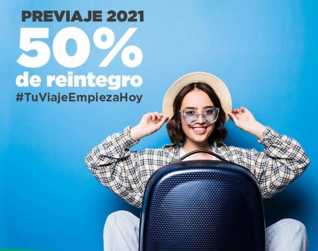 PreViaje - 50% de Reintegro para Viajes Futuros